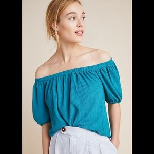 Anthropologie turquoise off the shoulder top.